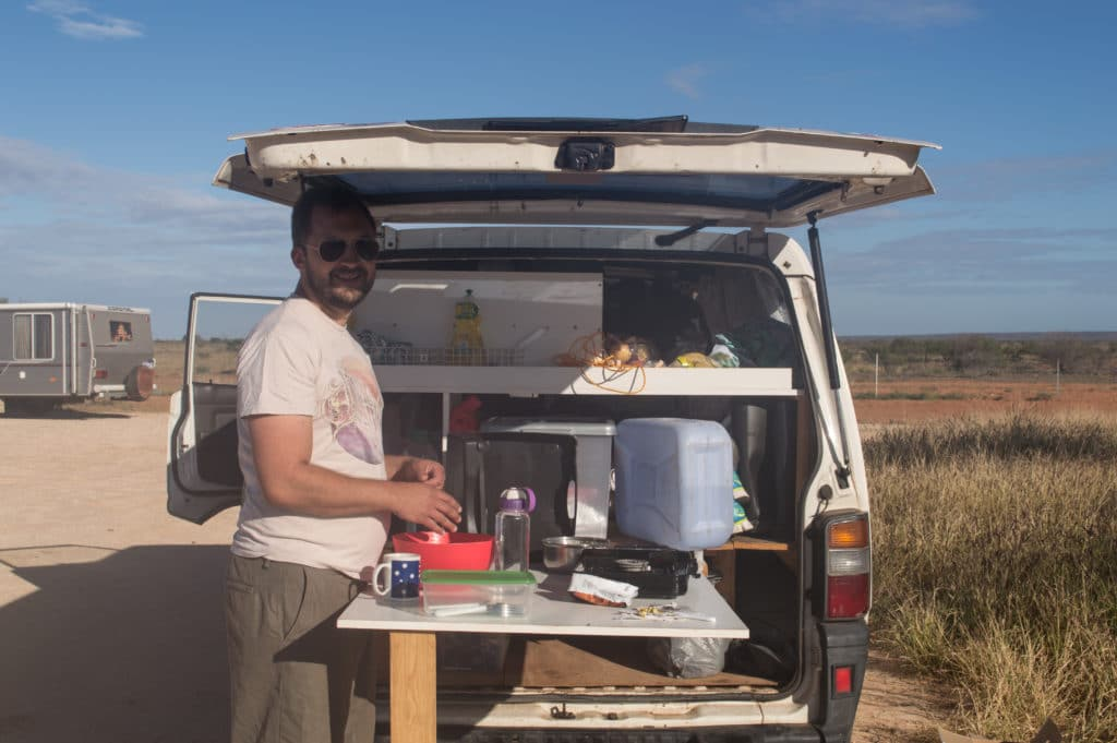 buy campervan Australia - making dinner in our van