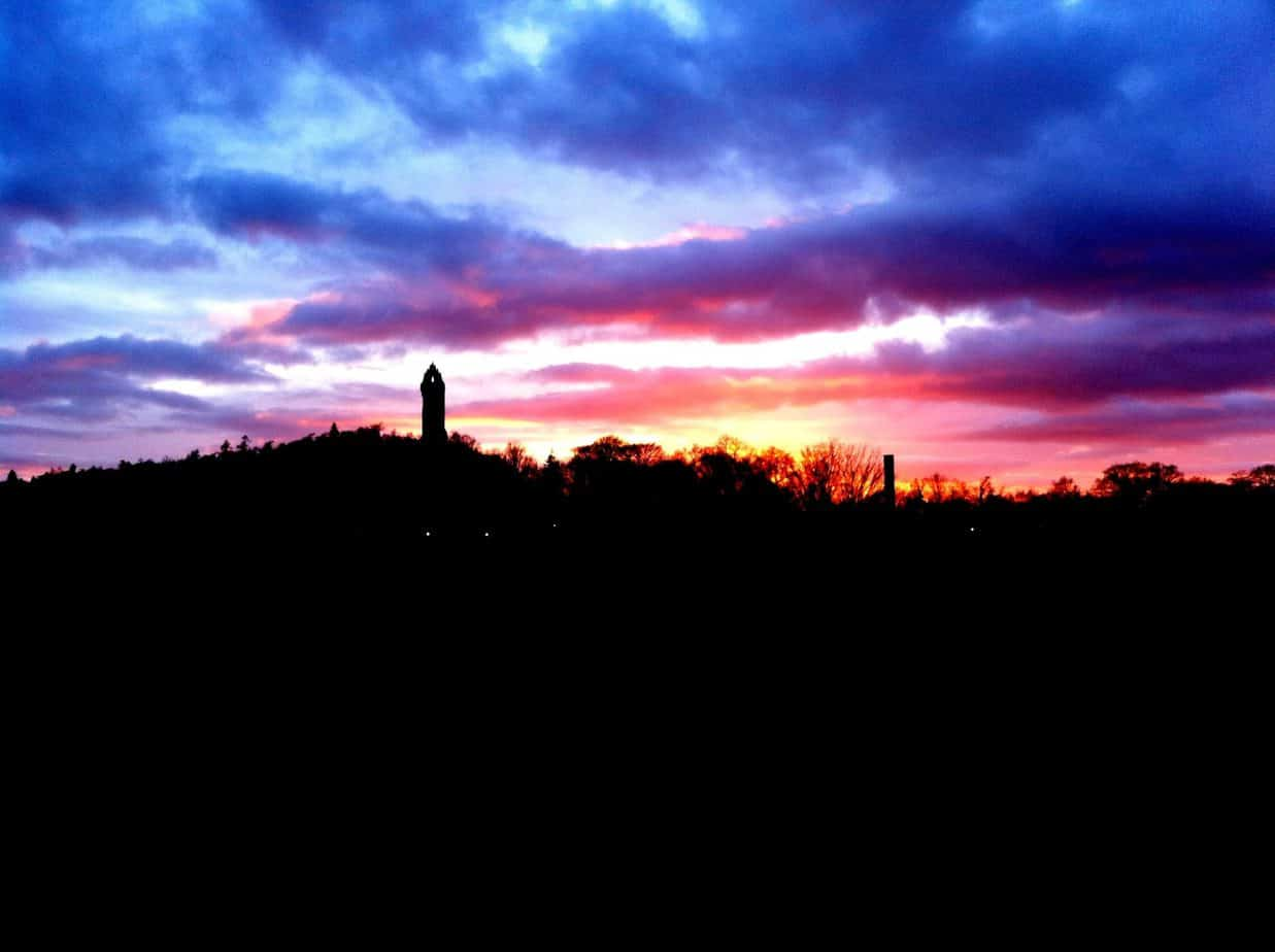 things to do stirling scotland - wallace monument sunset