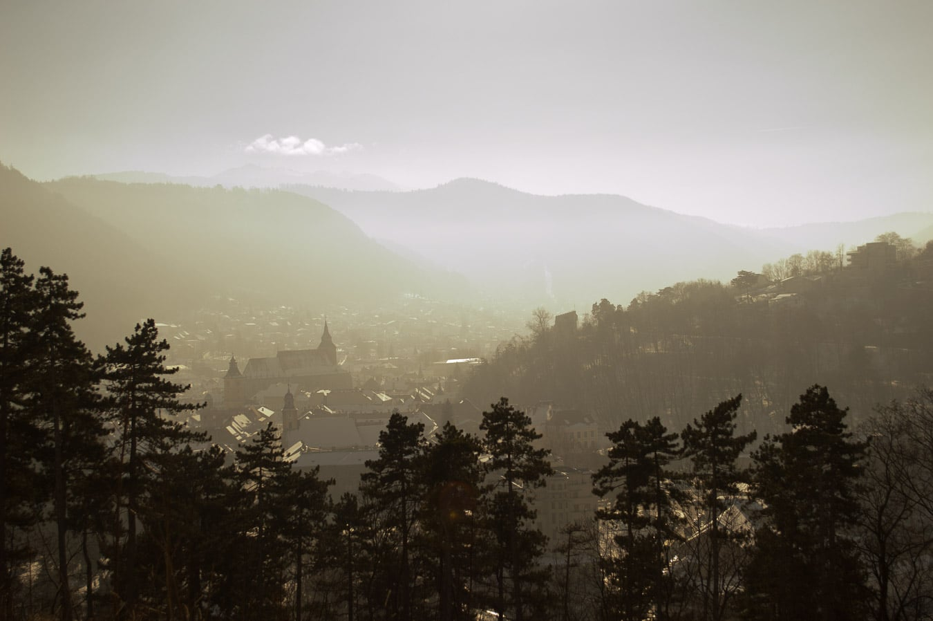 things to do in Brasov - misty view of city