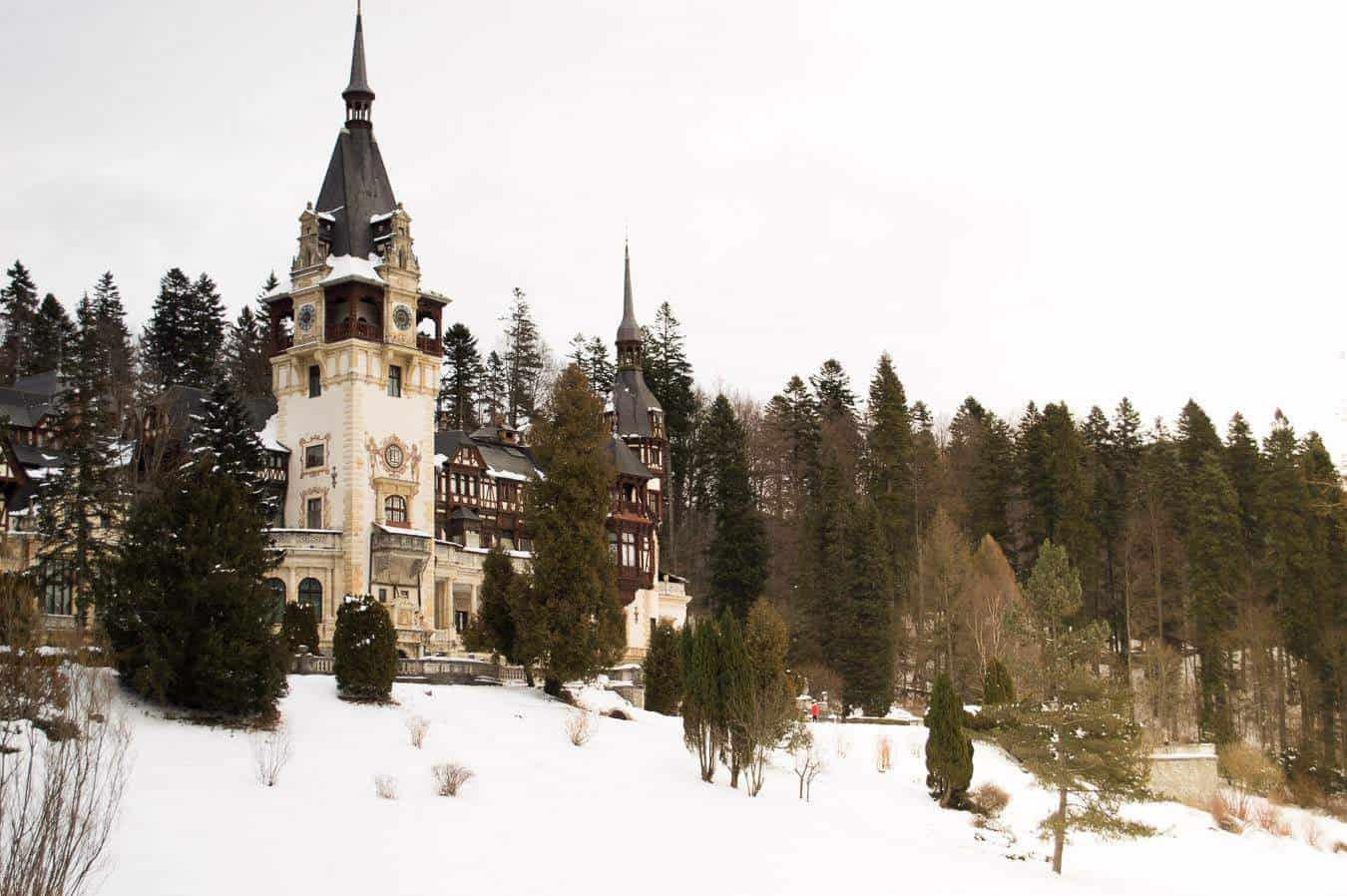 things to do in Brasov - Peles Castle in the snow