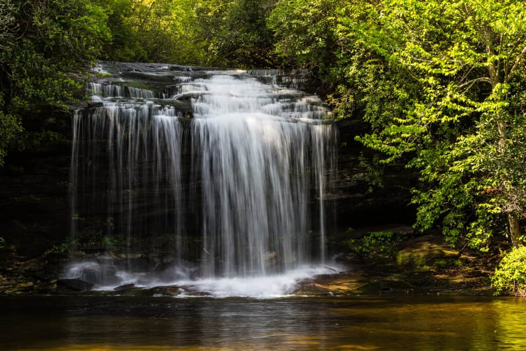 Schoolhouse Falls in Nantahala National Forest in North Carolina, United States