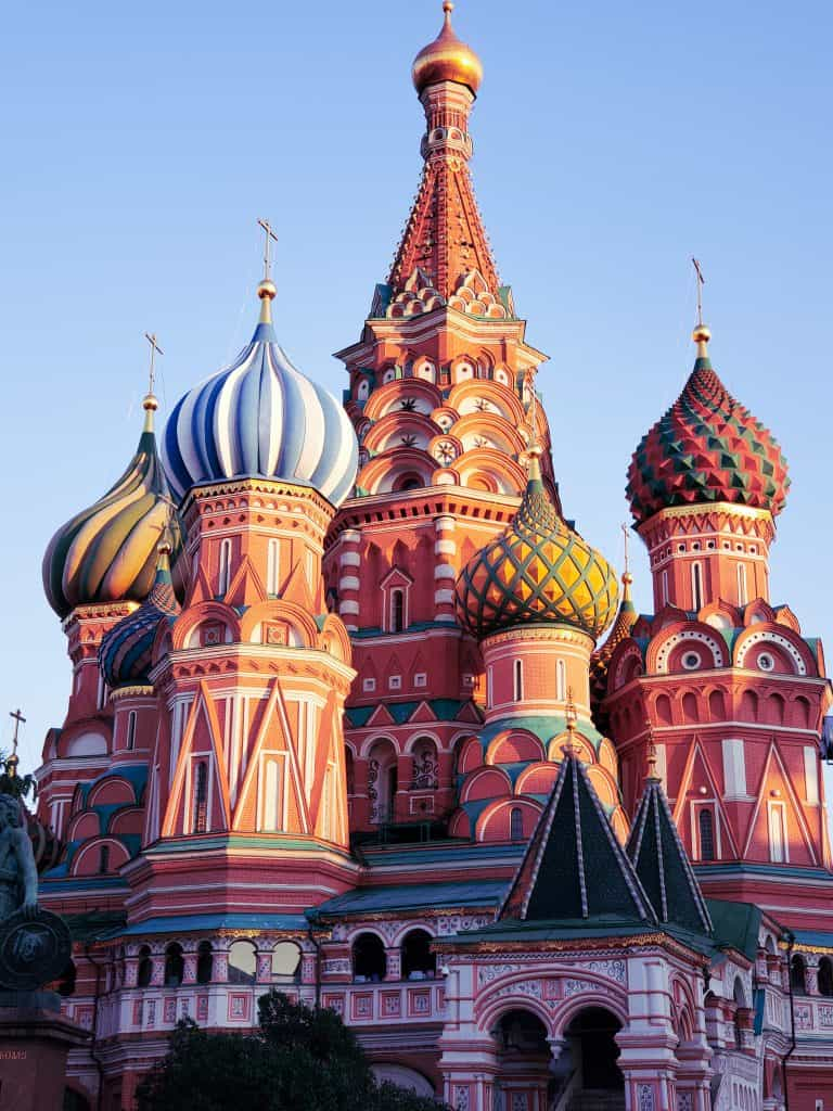 moscow attractions - image of st. basils cathedral focusing on ornate turrets