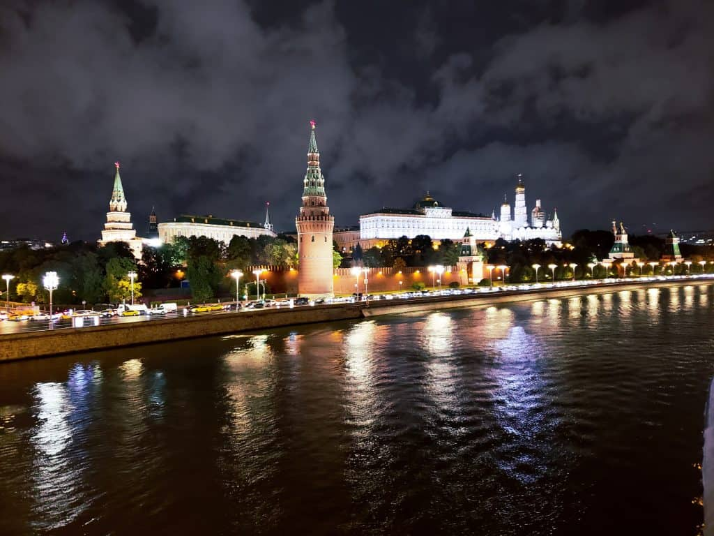 Moscow things to do - the Kremlin illuminated at night