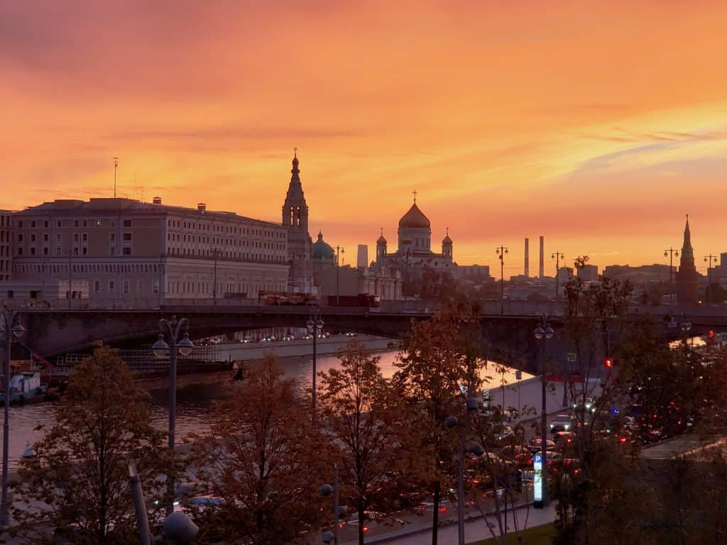 Zaryadye park sunset moscow skyline - top 10 things to do in Moscow