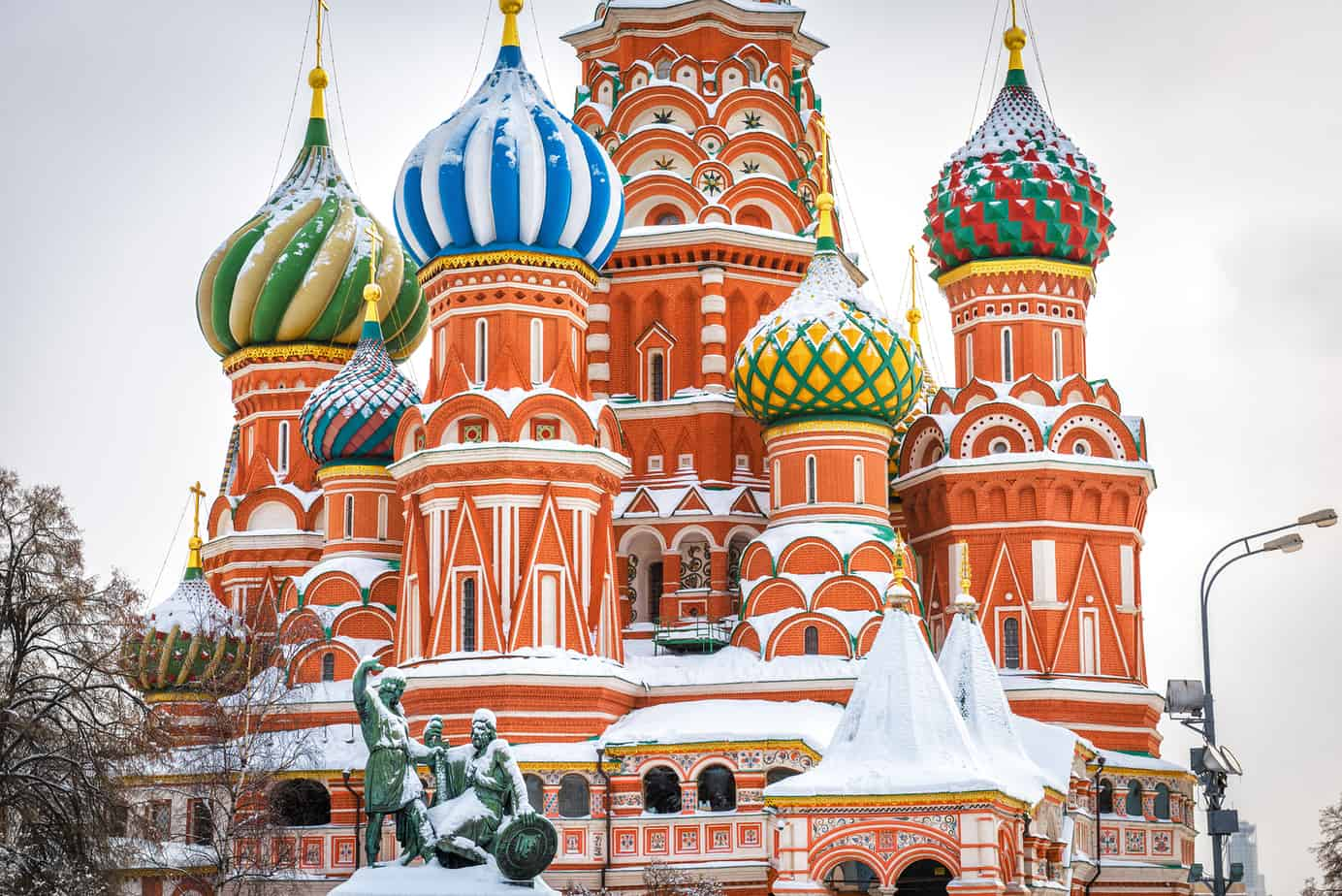 places to visit in moscow - St Basil`s Cathedral on Red Square in winter, Moscow, Russia. It is an old landmark of Moscow. Beautiful view of St Basil`s church during snowfall in the Moscow center. Ancient architecture of Moscow.
