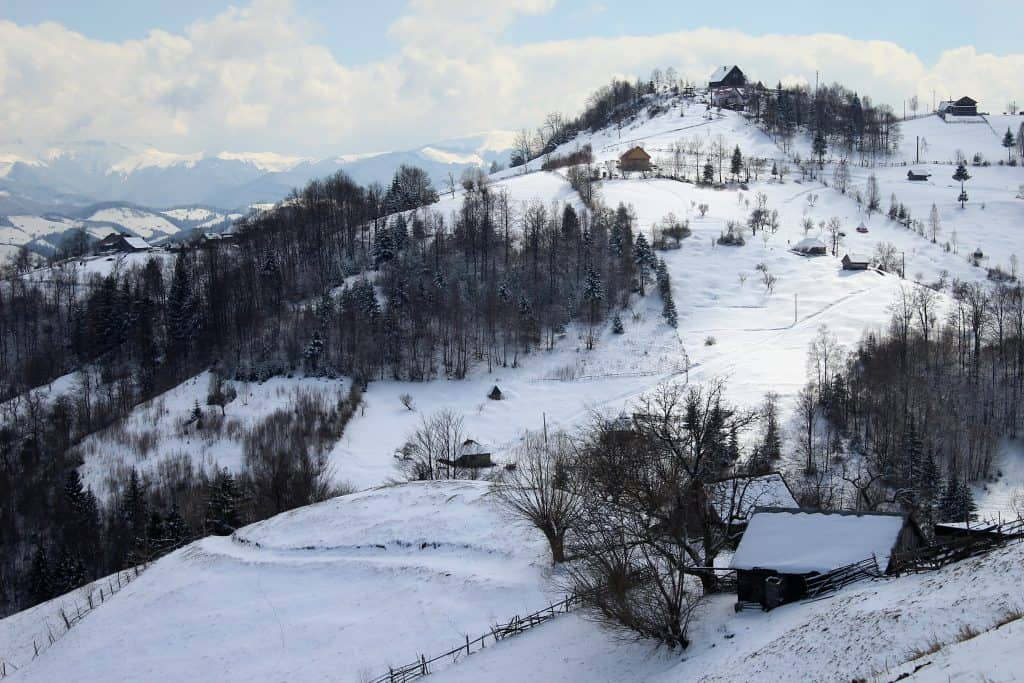 europe in winter - snowy mountains in transylvania