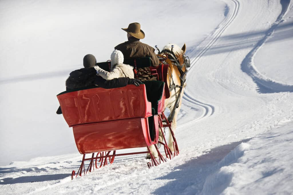 Rear view of couple riding in horse-drawn sleigh in snow.