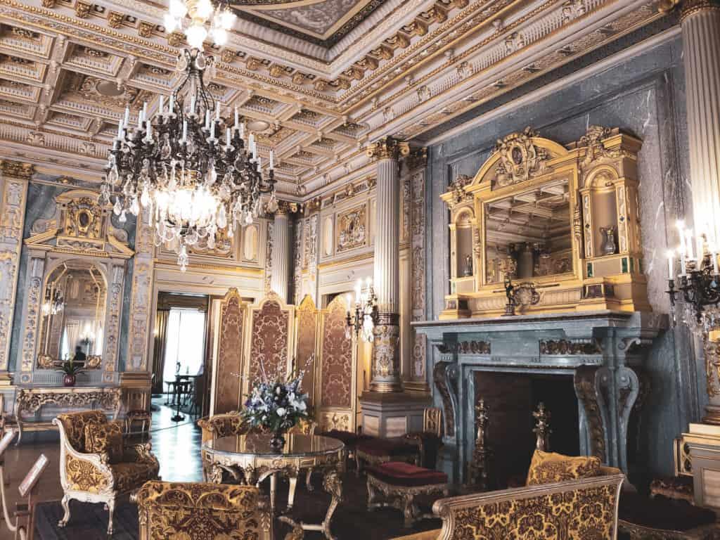 romantic getaway Newport RI - visit the Breakers mansion ornate room