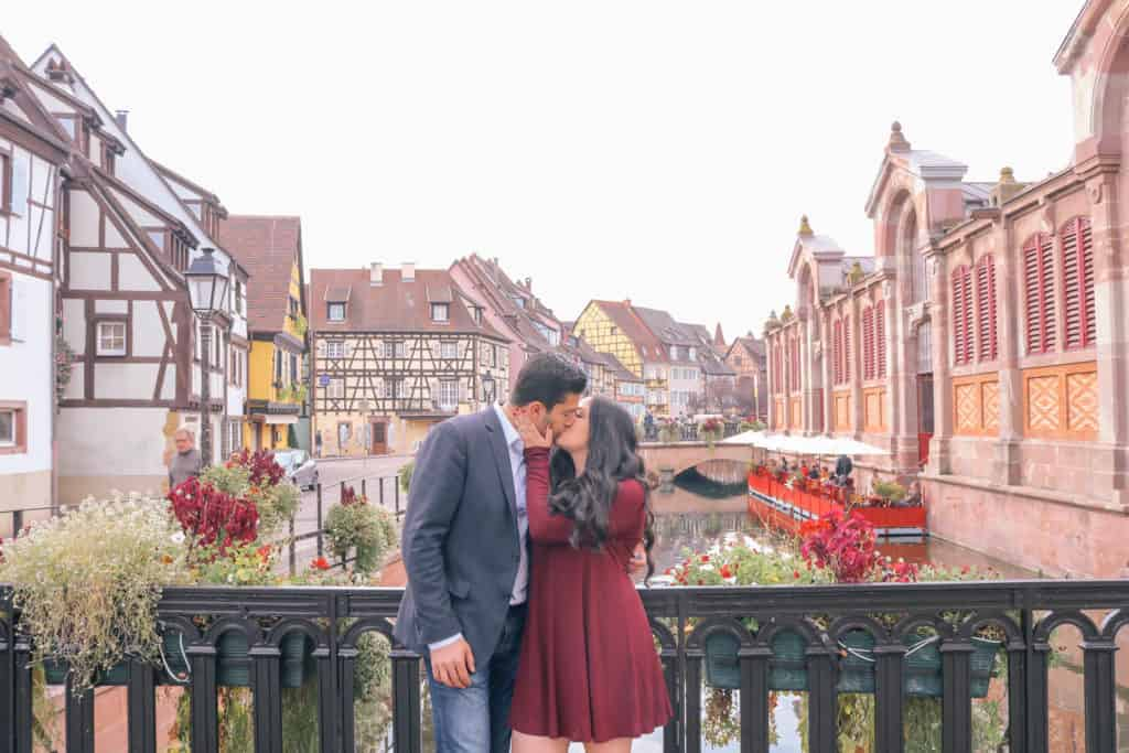 luxury honeymoon Europe - Alsace France couple kissing