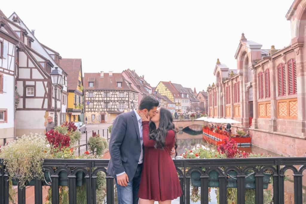 luxury honeymoon Europe - Alsace France couple kissing