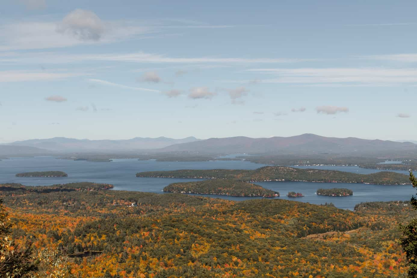 white mountains foliage - image overlooking lakes from top of mountain