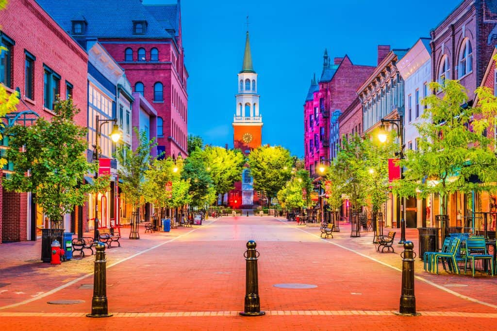 photo of empty Church Street in Burlington - what to see in burlington vermont