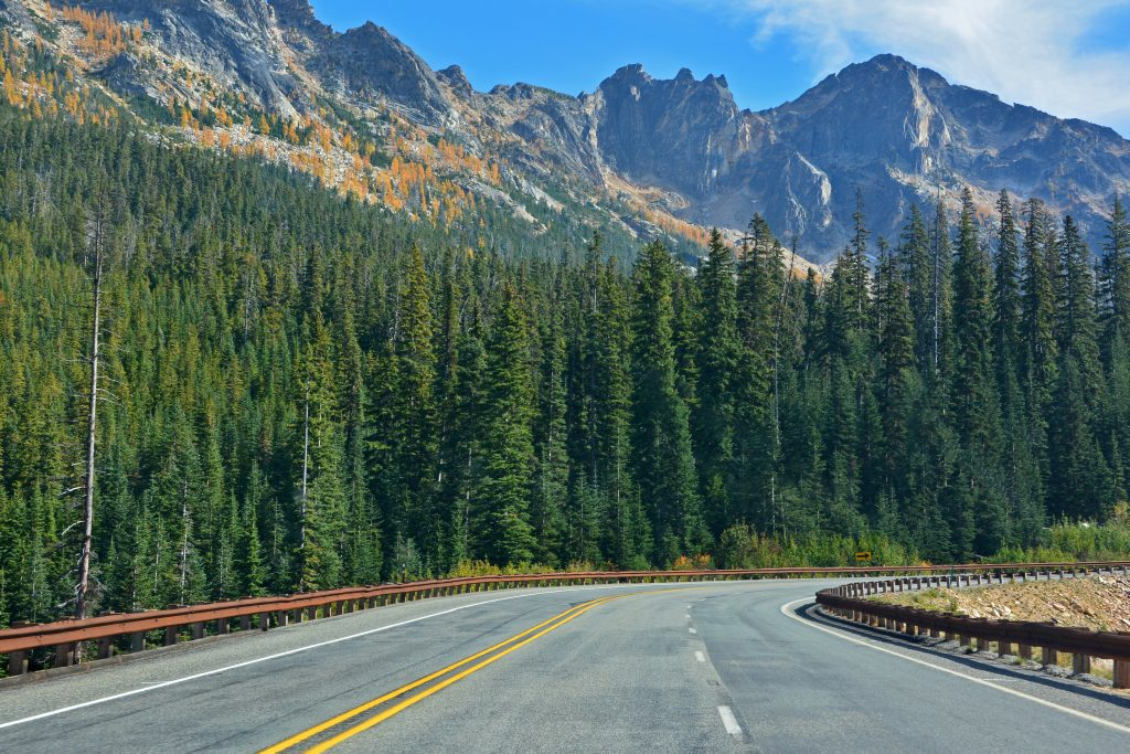 open highway surrounded by tall green trees and tall mountain peaks - North Cascades Washington