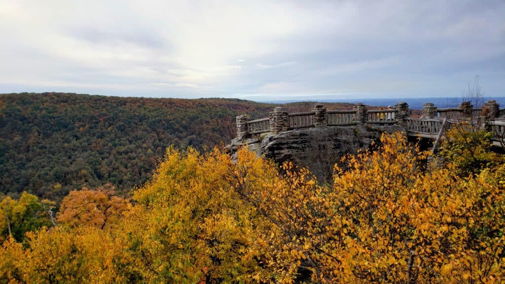 things to do in Morgantwon WV - visit the Cooper's Rock Overlook - fall foliage views