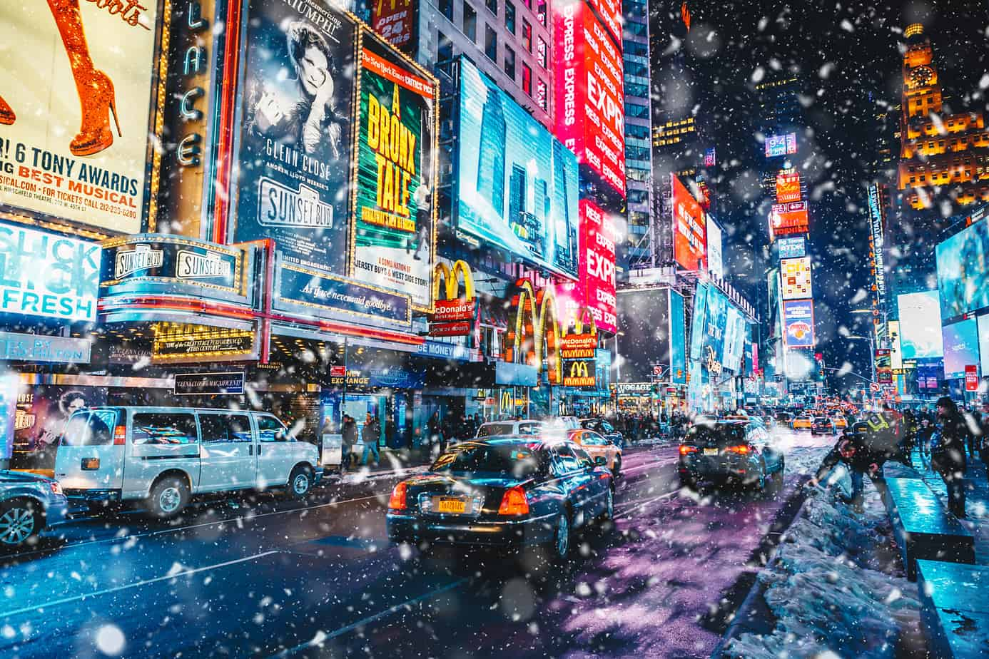 snowy night in times square new york - romantic things to do in NYC