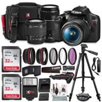 Canon T7 EOS Rebel DSLR Camera with 18-55mm and 75-300mm Lenses Kit + Accessory Bundle