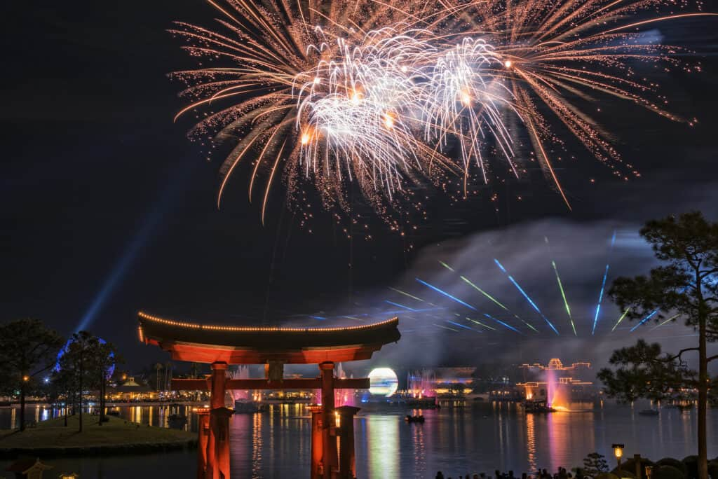Orlando FL USA January 30 2017 The IllumiNations:Reflections Of Earth Laser and Fireworks show at Epcot Center in Walt Disney World in Orlando Florida