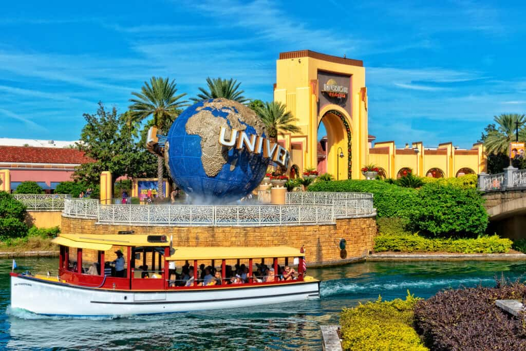 ORLANDO FL, USA - JANUARY 9, 2019: Universal Studios globe located at the entrance to the theme park. Universal Studios Orlando is a theme park resort in Orlando, Florida, USA