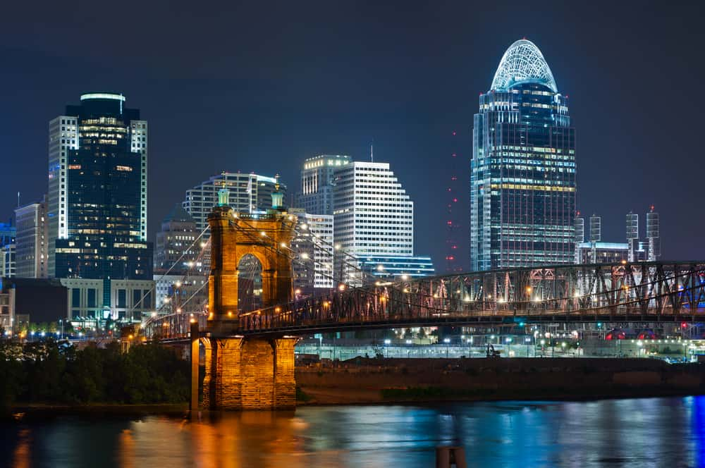 romantic things to do in cincinnati - skyline at night