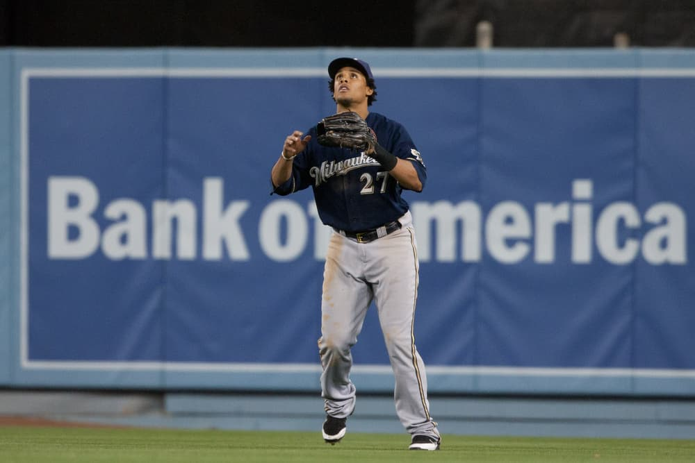 2011 May 16. Milwaukee Brewers center fielder Carlos Gomez #27 gets under a fly ball during the Major League Baseball game between the Milwaukee Brewers and the Los Angeles Dodgers at Dodger Stadium. The Brewers went on to defeat the Dodgers with a final score of 2-1.