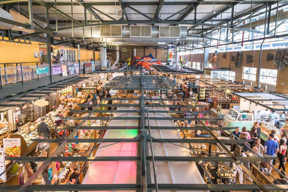 MIILWAUKEE, WISCONSIN - MAY 19, 2018: Shoppers in the interior of Milwaukee Public Market. The market opened in 2005.