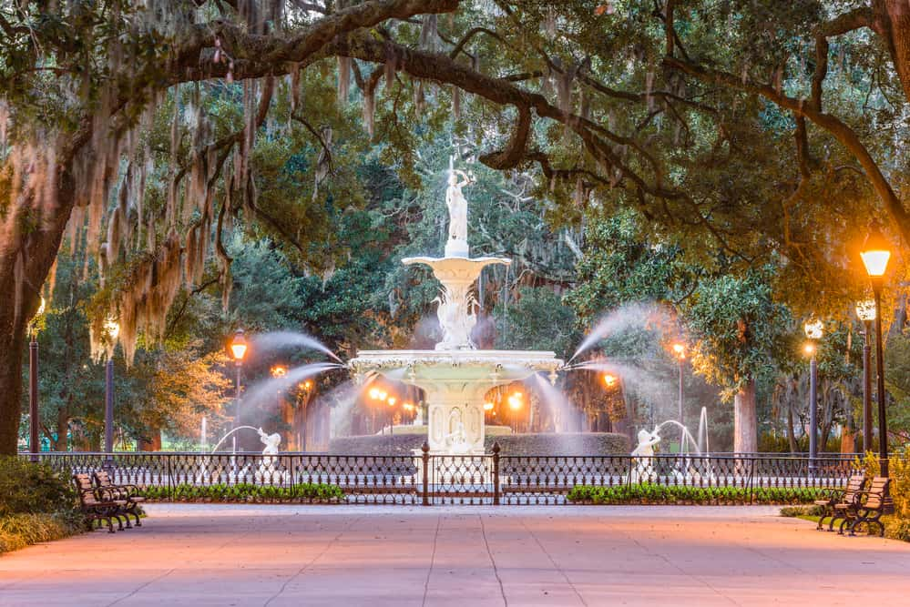 Forsyth Park, Savannah, Georgia, USA fountain at dawn