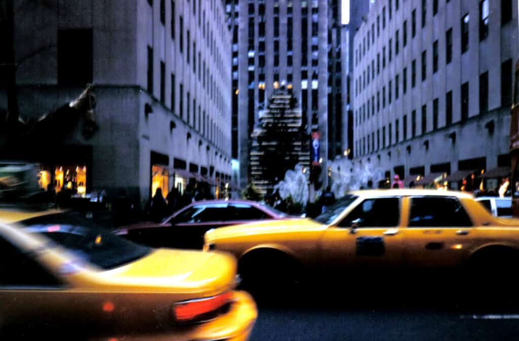 The blur of New York City taxi cabs