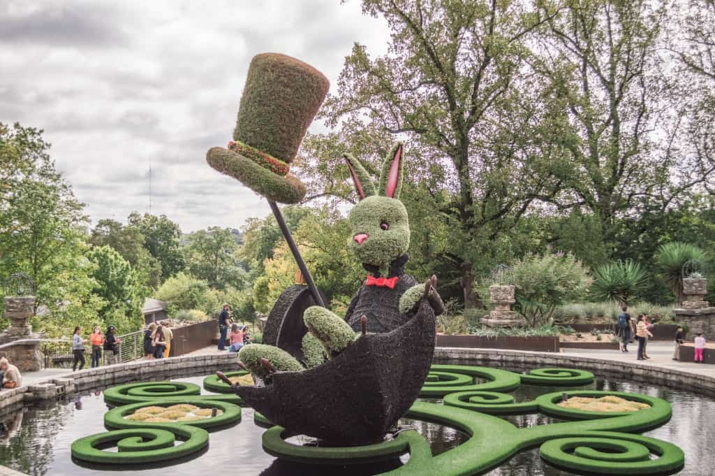 travel guide Atlanta Botanical Gardens, Alice in Wonderland, white rabbit, topiary sculpture, plants, exhibit