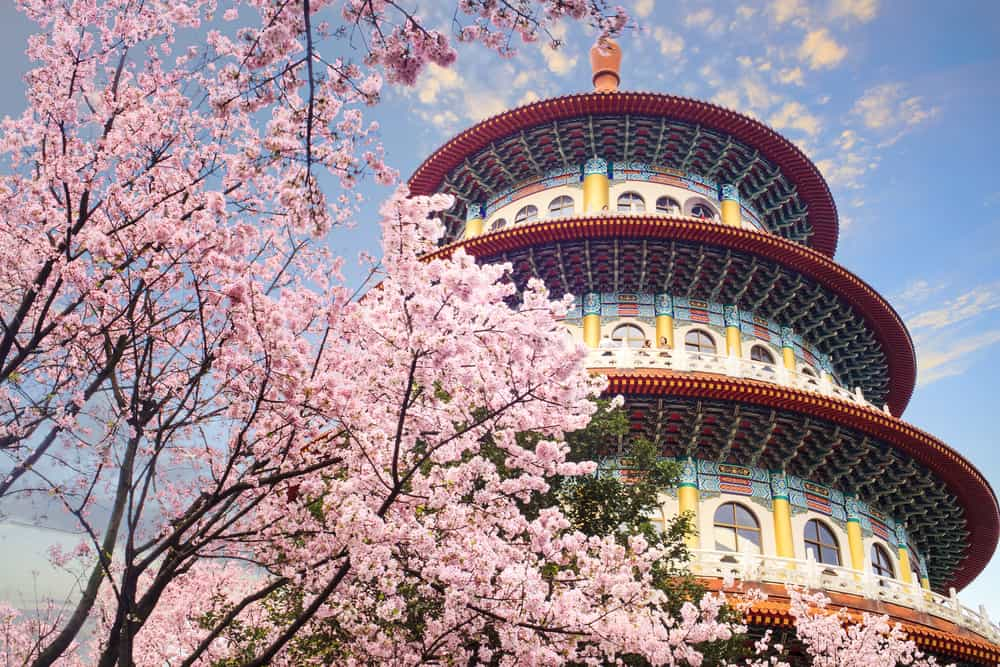 romantic things to do in taipei for couples - image of spring trees in front of taiwanese building