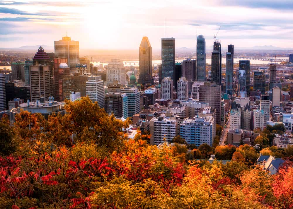 romantic things to do in montreal - image of city in morning time, skyscrapers in distance with fall foliage in the foreground