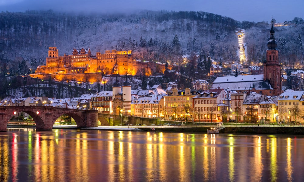 romantic things to do in heidelberg - image of german town at night lit up